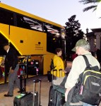 Boarding the bus to theairport